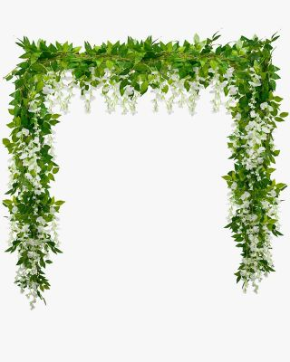 4 Strands of 25.6 Feet Artificial Wisteria Vine Garland Foliage String for Home Decor and DIY Indoor/Outdoor Party