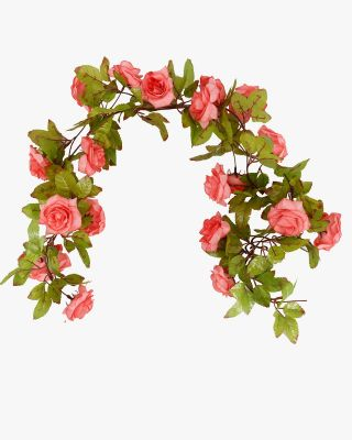 2 Strands of 14.5 Feet Artificial Rose Flower Garland Vines for Home Decor and DIY Indoor/Outdoor Party