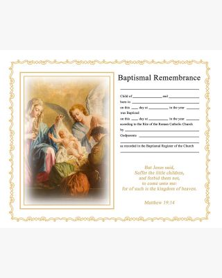 "A4/8x10"" Catholic Baptism Certificate"