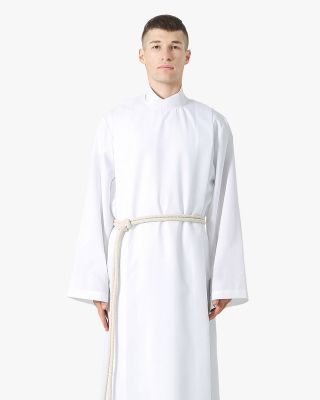 Front Wrap White Clergy Cassock Alb with Cotton Cincture