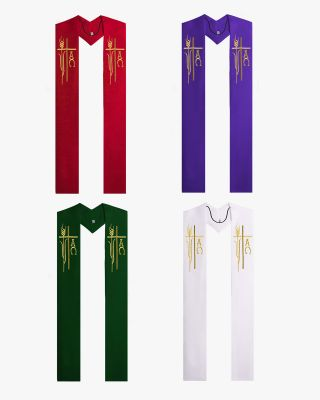 Alpha Omega Wheat Overlay Stoles - 4 Colors Available