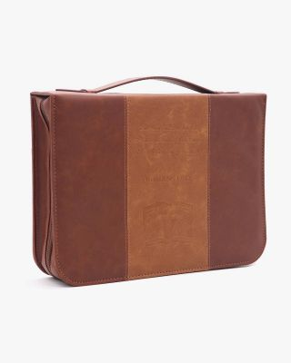 Vintage Brown PU Leather Durable Zipper Bible Bag Carrying Case Large Size