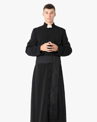 Black Roman Cassock and Band Cincture Package