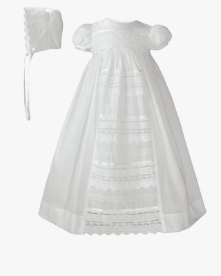 Cotton Christening Gown with Venise Lace
