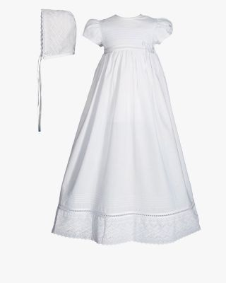 Beautifully Trimmed Cotton Christening Gown