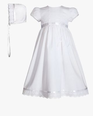 Christening Cotton Dress with Lace & Trim