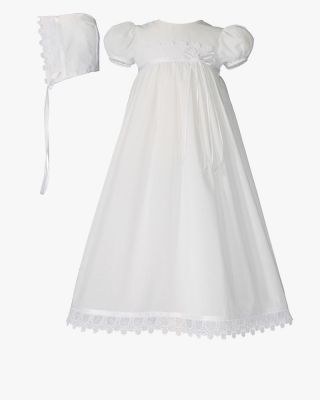 Cotton Christening Dress with Intricate Italian Lace and Ribbon