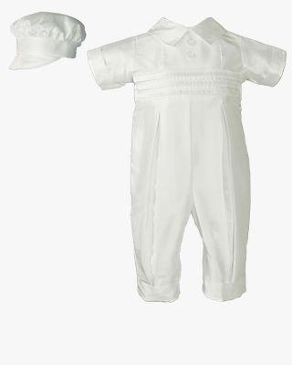 Boys Silk Coverall with Pin Tucking & Hat