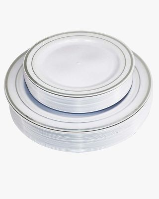50 Pieces Disposable Dinner/Dessert Plastic Plates for 25 Wedding or Party Guests