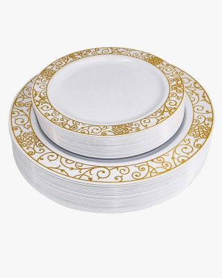 50 Pieces Disposable Dinner/Dessert Plastic Plates with Gold Lace Pattern for Wedding or Party Guests