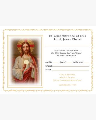 """Classic A4/8x10"""" First Holy Communion Certificate"""
