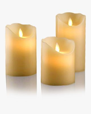Set of 3 Ivory Flameless Dripless Candles