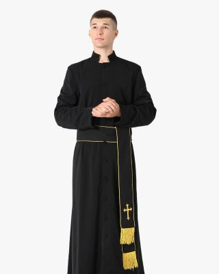 Black Roman Cassock and Band Cincture with Cross Package