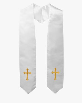 Traditional Choir Stole with Embroidery Cross - 5 Colors Available