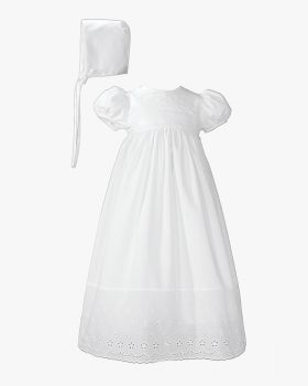 Ornamented with Eyelet across Bodice Christening Gown