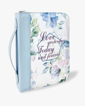 Baby Blue Floral PU Leather Durable Zipper Bible Bag Carrying Case