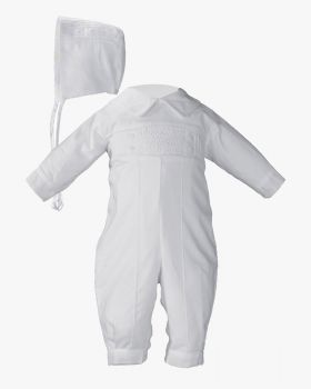 Hand Smocked Pin Tucked, Long Sleeve, Long Pant Coverall