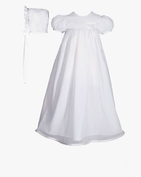 Beautiful Cotton Christening Dress with Tricot Overlay